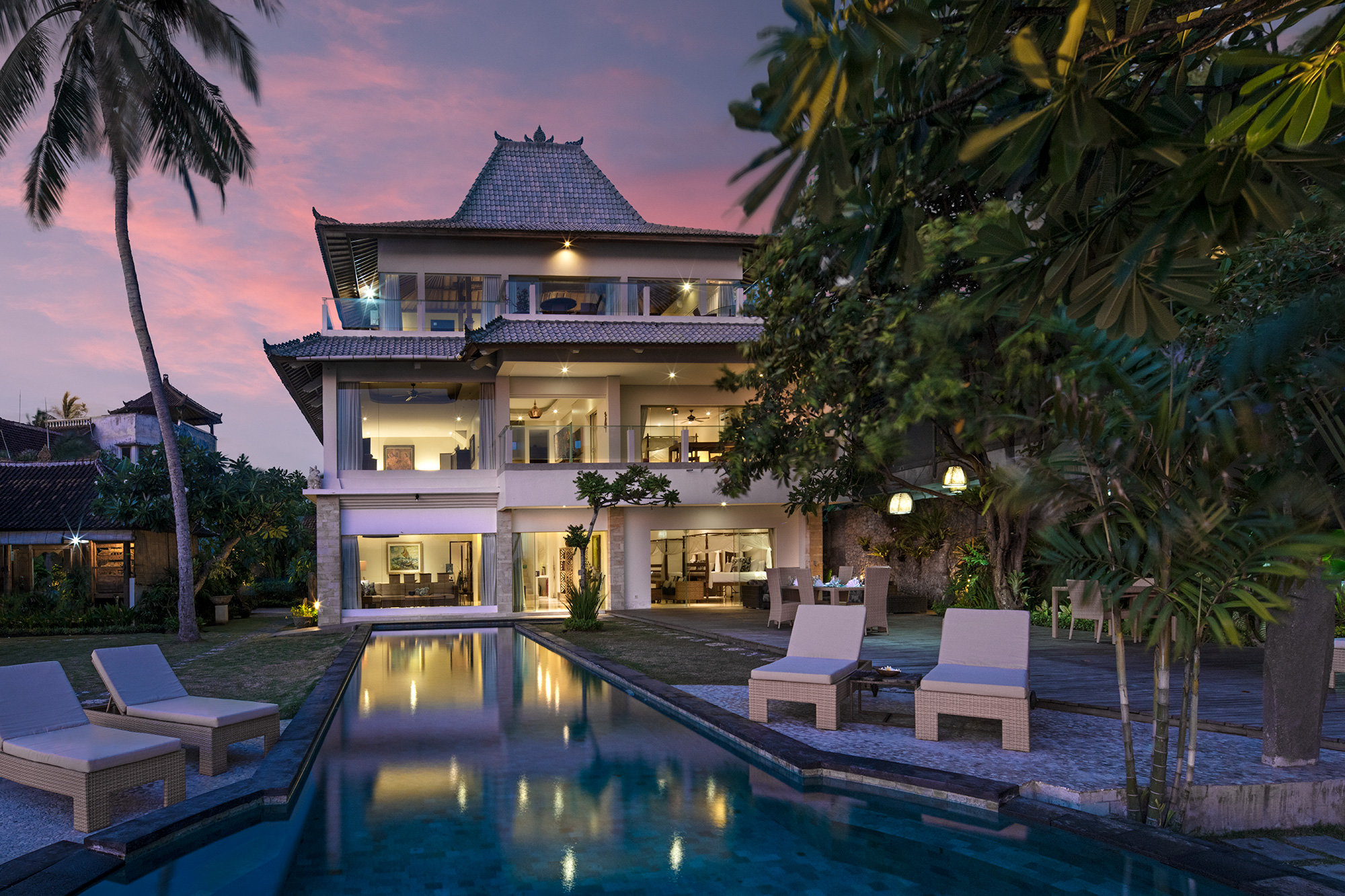Villa Cocoa Maya, Candidasa, Bali, the villa at dusk
