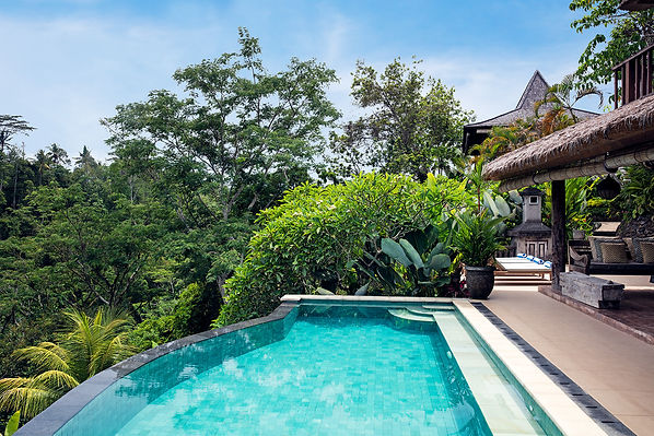 Villa Sagitta, Ubud, Bali, The 10-metre infinity pool with magnificent views of the river