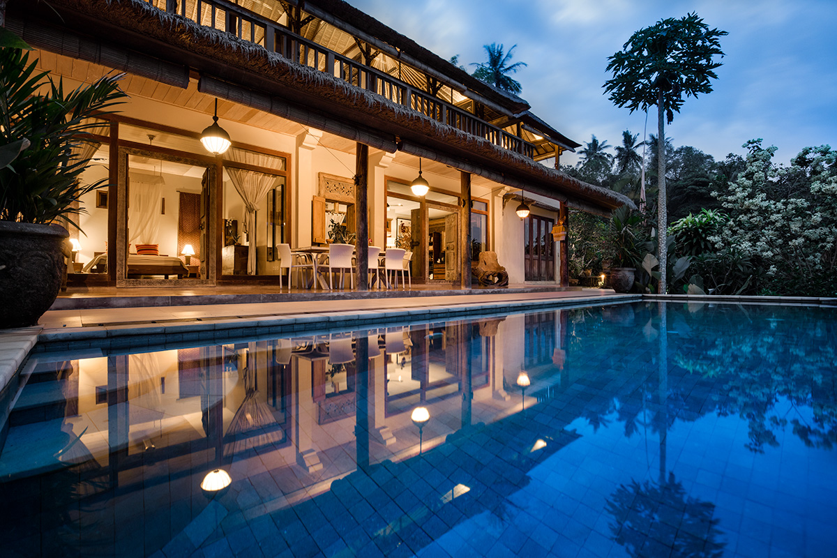 Villa Sagitta Ubud at twilight