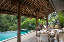 Villa Sagitta, Ubud, Bali, Enjoying lunch at the pool - your only stress is deciding what to eat!