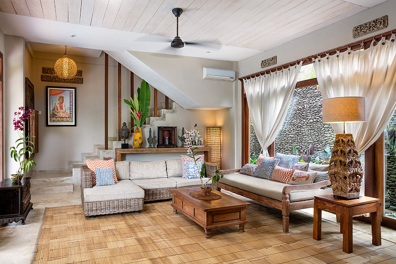 Copy of Villa Sagitta, Ubud, Bali, The inside living area complete with TV, cable channels