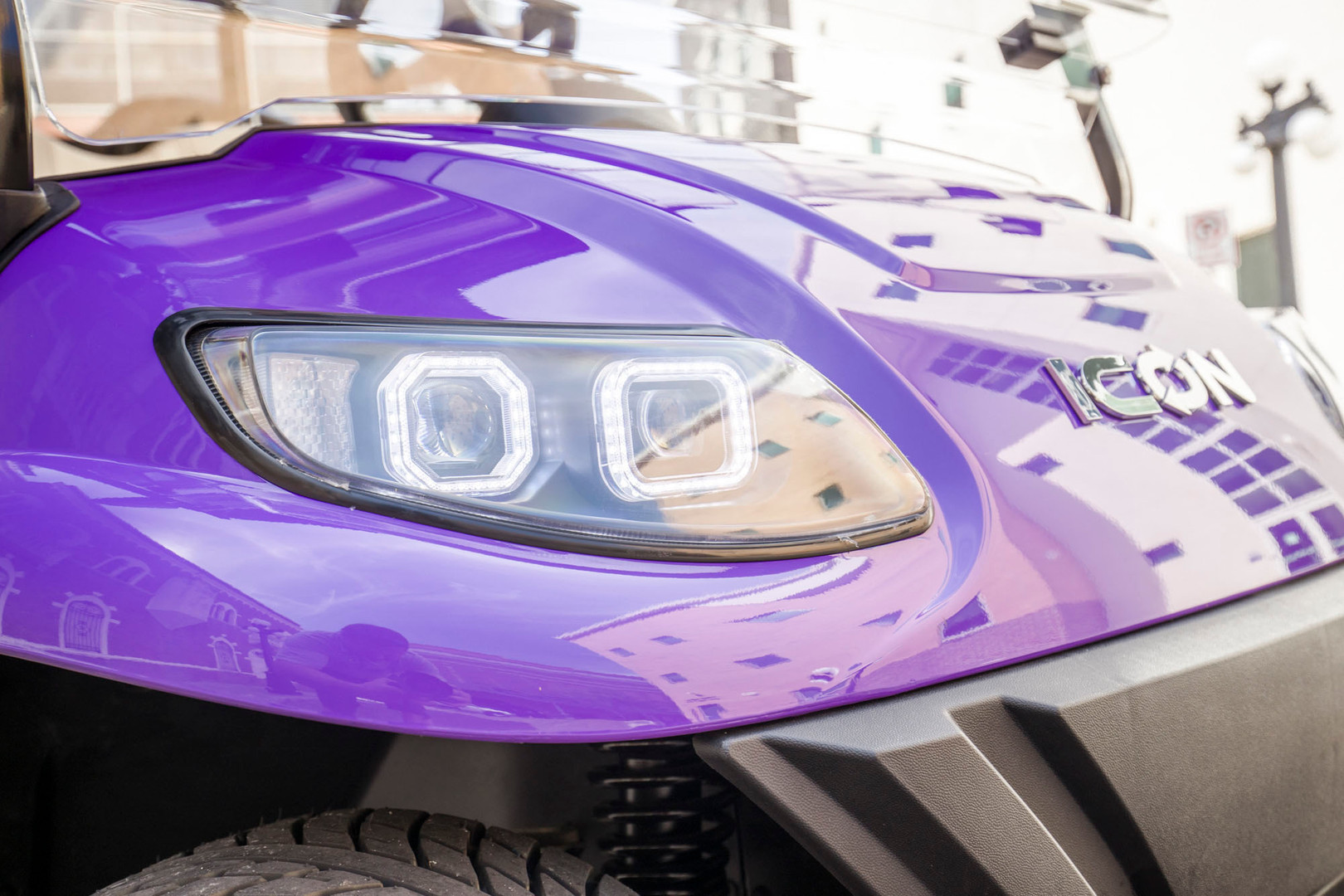 Purple ICON Golf Cart with Headlights
