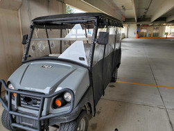 Grey Club Car Transporter with Track Style Weather Enclosure