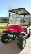 Red, Lifted Club Car Precedent with Four Passenger Flip Kit and Headlight