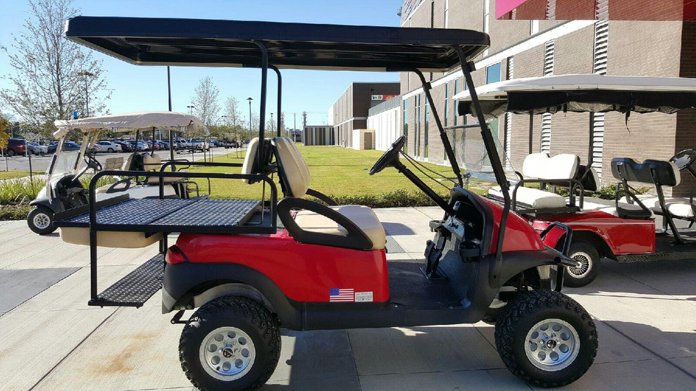 Red, Lifted Club Car Precedent with Four Passenger Flip Kit