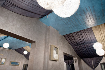 Salone delle feste.Particolare tende soffitto.