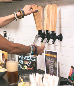 Locally sourced beer, kombucha, and nitro on tap.
