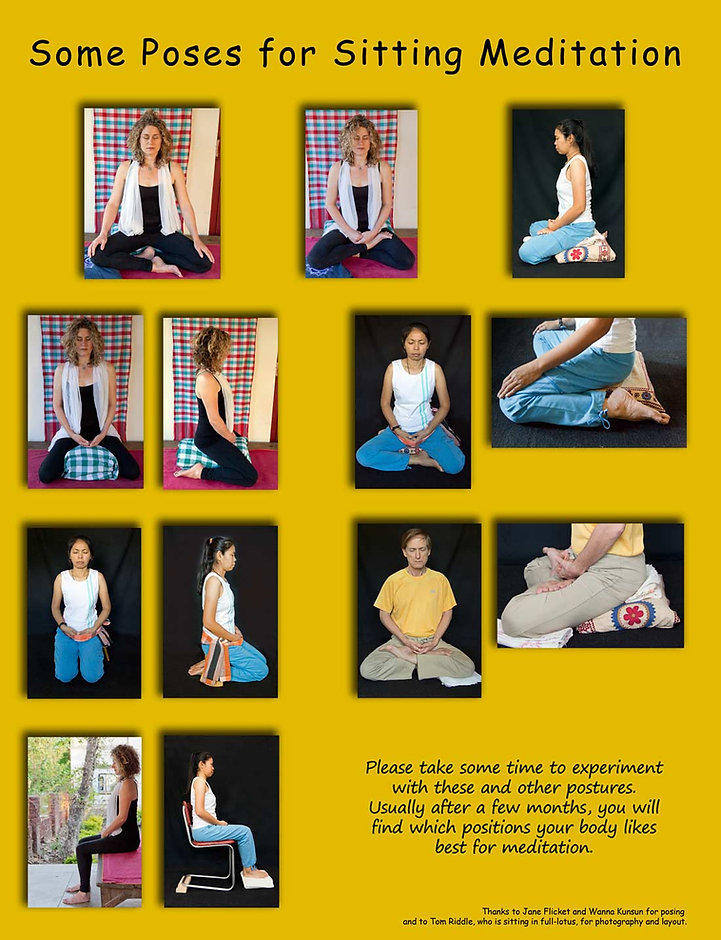 Examples of sitting meditation postures