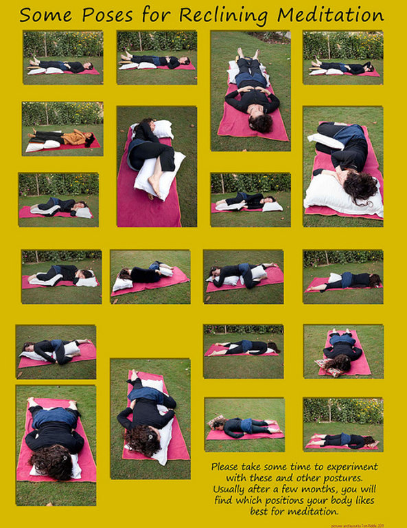 postures for reclining meditation in photos