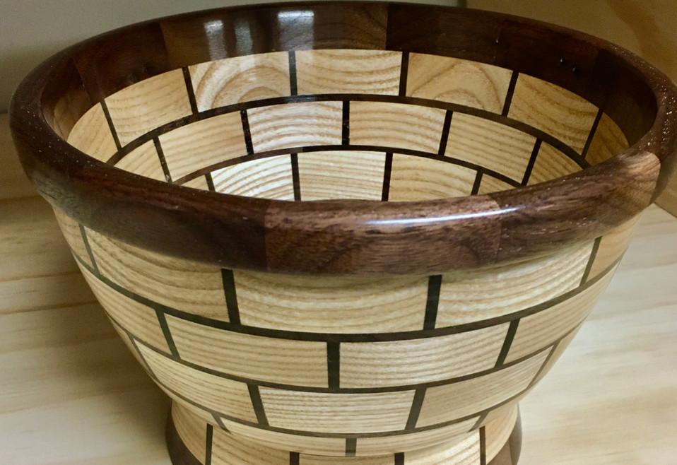 Segmented white ash and walnut bowl