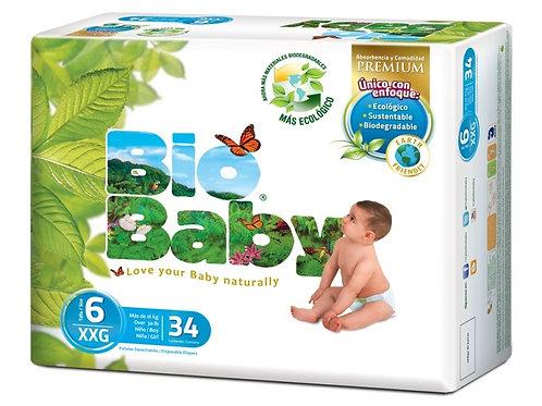 Pañales Bio Baby 6 XXG (más de 15 kg), 34 Un