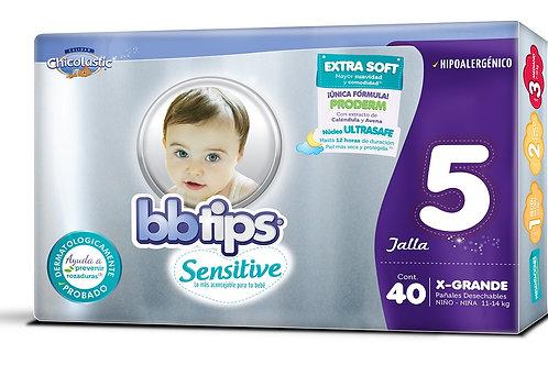 Pañales BB Tips Sensitive, Talla 5, XG (11-14 Kg), 40 Un