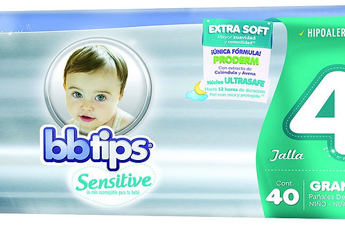 Pañales BB Tips Sensitive, Talla 4, G (9-12 Kg), 40 Un