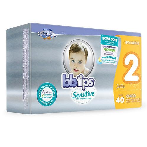 Pañales BB Tips Sensitive, Talla 2, CH (5-8 Kg), 40 Un