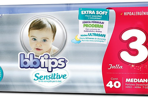 Pañales BB Tips Sensitive, Talla 3, M (7-10 Kg), 40 Un