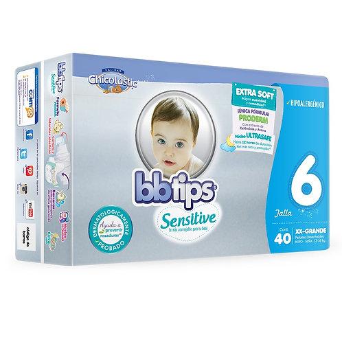 Pañales BB Tips Sensitive, Talla 6, XXG (13-16 Kg), 40 Un