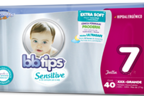 Pañales BB Tips Sensitive, Talla 7, XXXG (más de 17 Kg), 40 Un