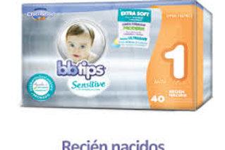 Pañales BB Tips Sensitive, Talla 1, RN (3-6 Kg), 40 Un