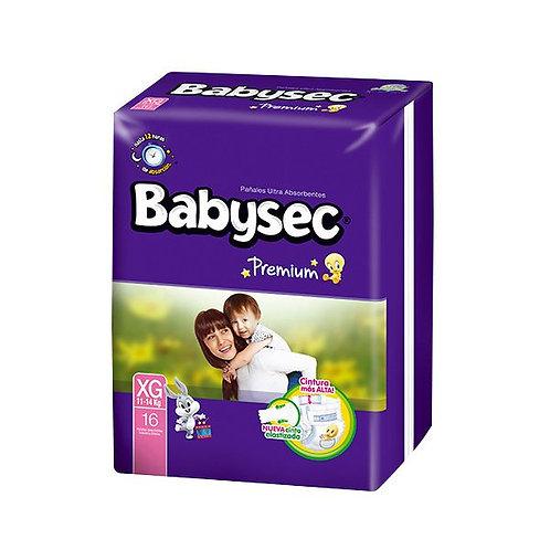 Pañales Babysec Premium Talla XG (11-14 Kg), 16 Un