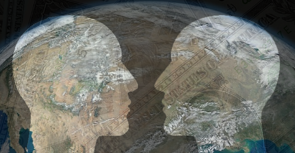 two heads superimposed over the Earth. Sub