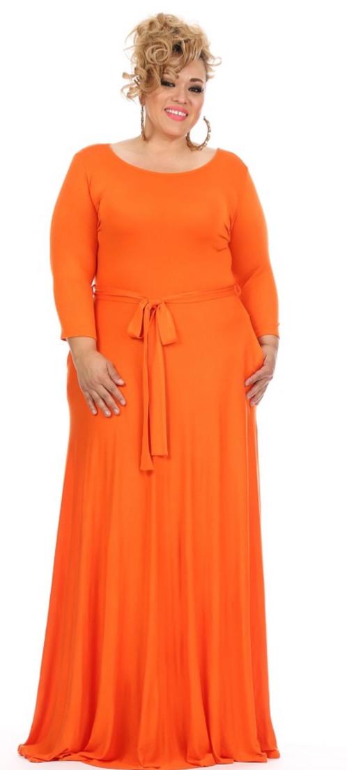 Women S Orange 3 4 Sleeve Plus Size Evening Party Maxi Dress With Tie
