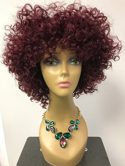 Miracle Hair Wholesale 9A 10 Inch Ruby Red Curly Fro Wig
