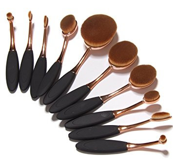 Oval Cosmetic Brushes 10-Pack