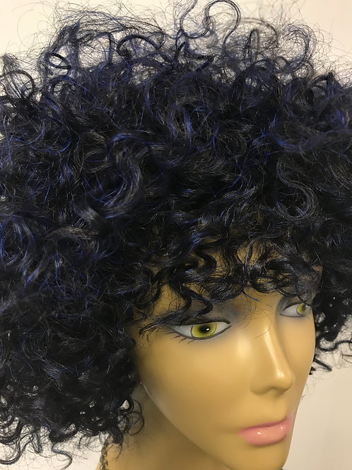 Miracle Hair Wholesale 9A 10 Inch Blue/Black Curly Fro Wig