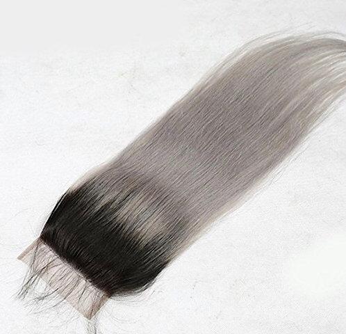 Silver Ombre Straight Closure