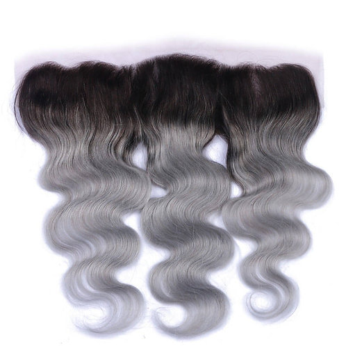 Silver Ombre Gray Body Wave Frontal