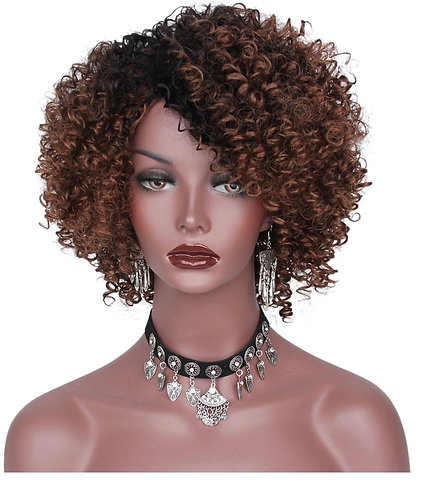 10 inch 1B/30 Kinky Curly Style Wig