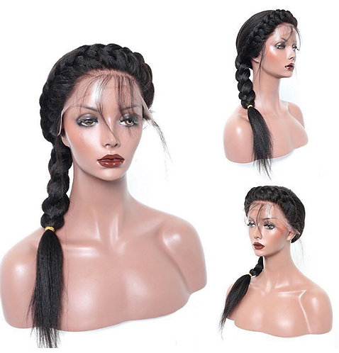 Lace Yaki Straight Custom Wig With Baby Hair 1B 16inch 9A