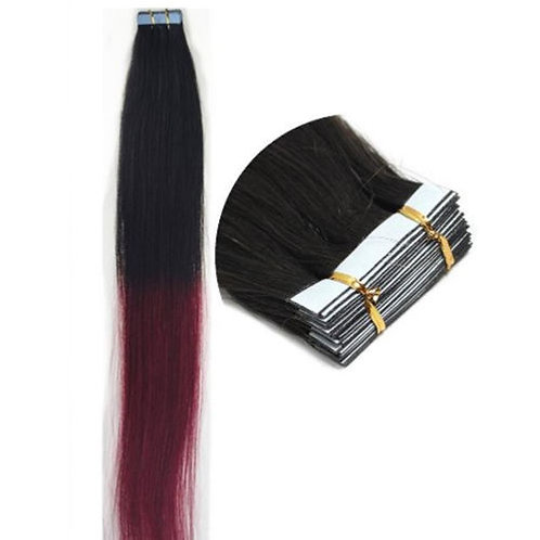 20pc Ombre T1B/Burgundy Tape-In Extensions