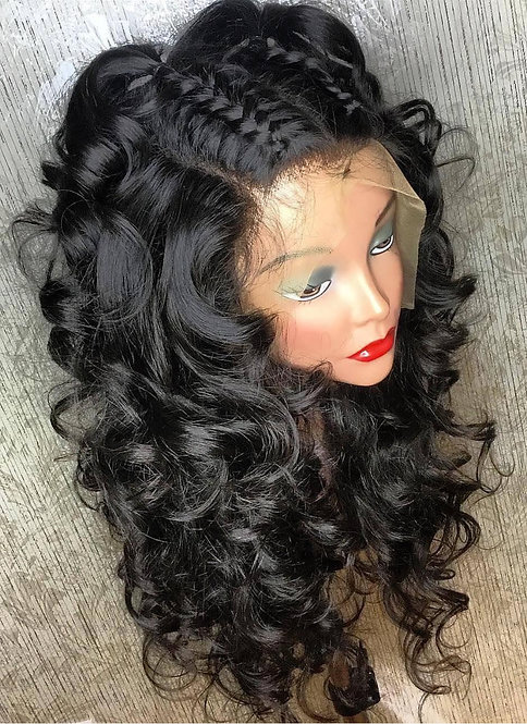Miracle Hair Wholesale 9A Braid Down Loose Wave Lace Front Wig