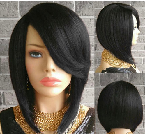 9A 10 inch Yaki High Low Bob Style Wig