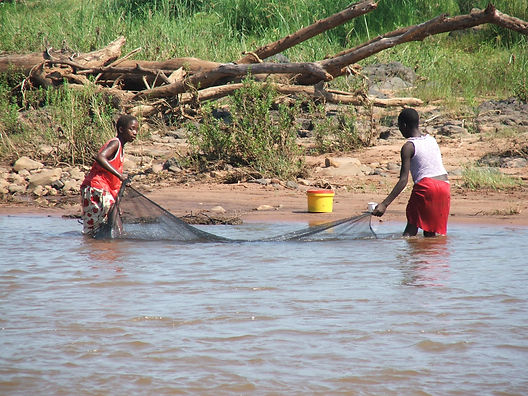 Kids fishing, South Africa