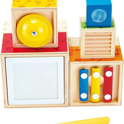 Hape Stacking Music Set | Colorful 6 Piece Musical Box Toy, Wooden Set for Kids