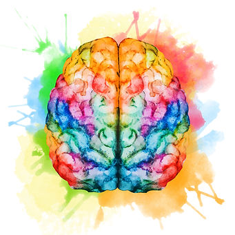 painting of rainbow colored brain