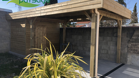 Carport avec abris de jardin intégré