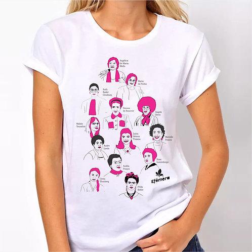 Camiseta Mulheres Ícones - detalhe rosa (Unissex, todos os tamanhos)