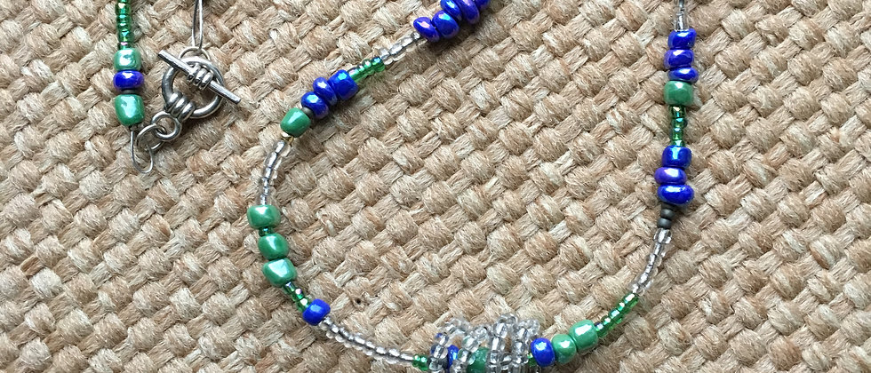 Blue Green Stone Pendant & Beaded Necklace