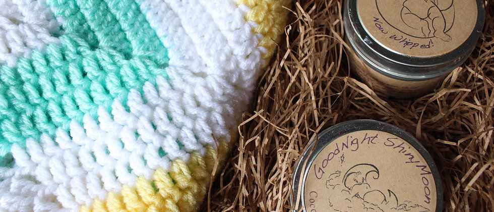 Welcome Baby Gift Basket: mint green & yellow