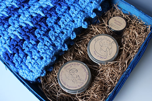 Welcome Baby Gift Basket: very blue