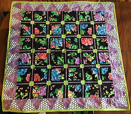 Baby Square Quilt: Lime -Black Floral- Polka Dots