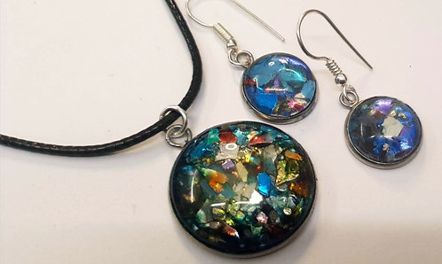 Funfetti Silver plated earring and pendant set - 3