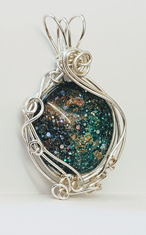 Silver Space Glitter Galaxy Pendant
