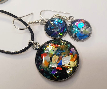 Funfetti Silver plated earring and pendant set -2