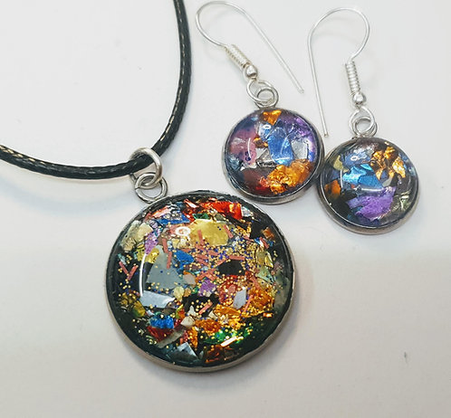 Funfetti Silver plated earring and pendant set - 1
