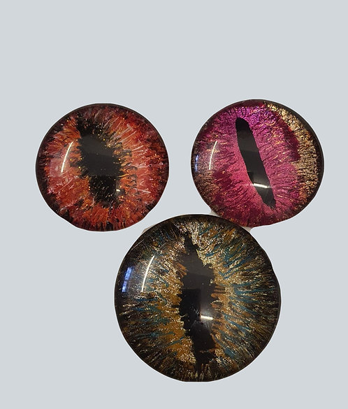 pack of 3 Hand Painted Dragon Eye Glass Cabochon - 1