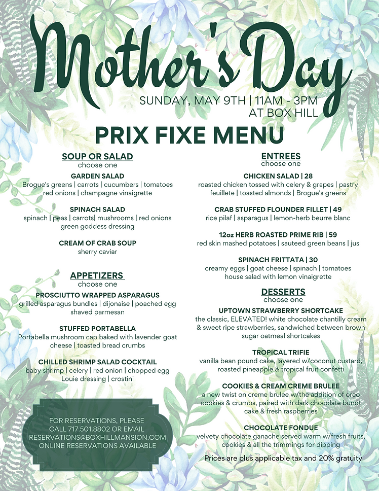 Mother's Day Brunch and Carryout Menus (